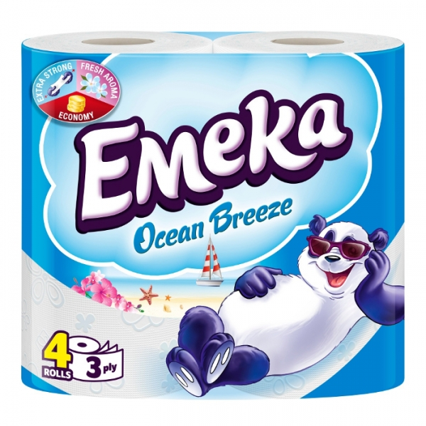 Emeka Ocean Breeze Hartie igienica, 3 straturi, 4 role