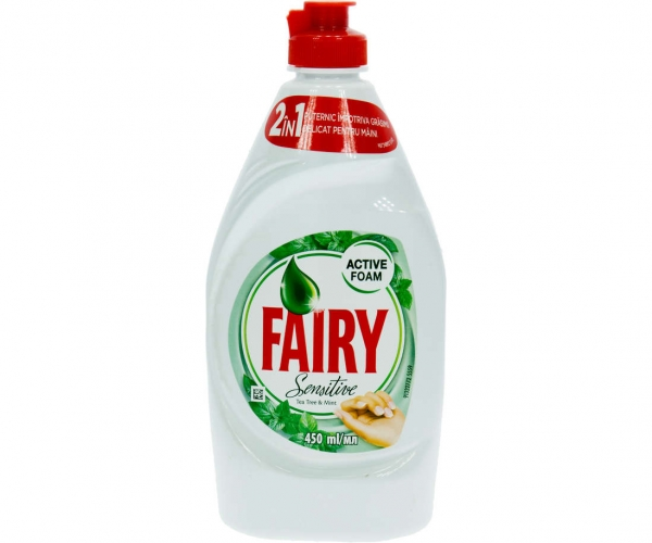 Fairy Detergent pentru vase, 450 ml, Sensitive Tea Tree and Mint 0