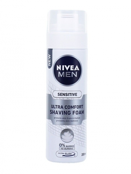 Nivea Spuma de ras, 200 ml, Sensitive Ultra Comfort