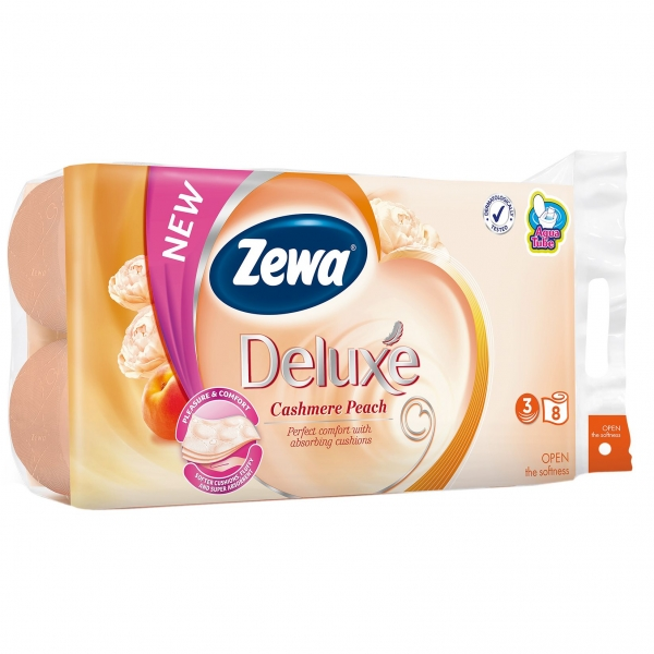 Zewa Cashmere Peach Hartie igienica, 3 straturi, 8 role