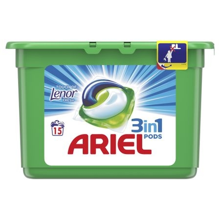 Ariel Detergent Capsule 3in1 PODS, 15 buc, Touch of Lenor Fresh