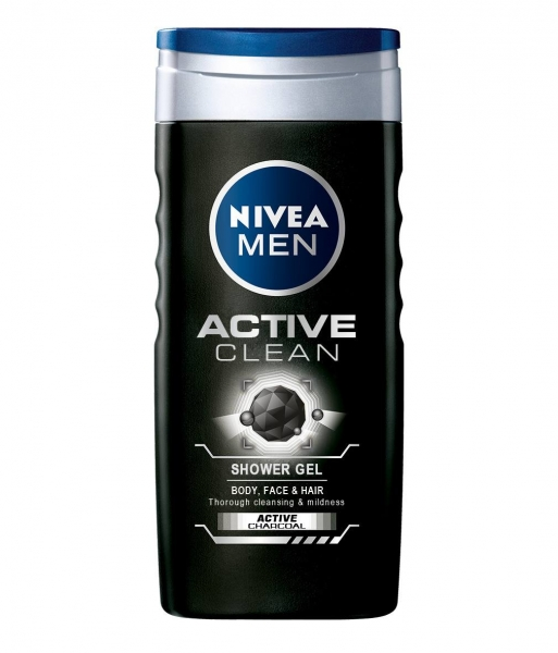 Nivea Gel de dus, Barbati, 250 ml, Active Clean