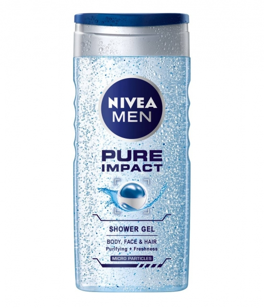 Nivea Gel de dus, Barbati, 250 ml, Pure Impact